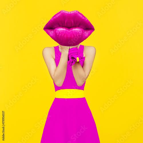 Contemporary art collage. Lady Crimson lips. Makeup Lipstick concept. Minimal...