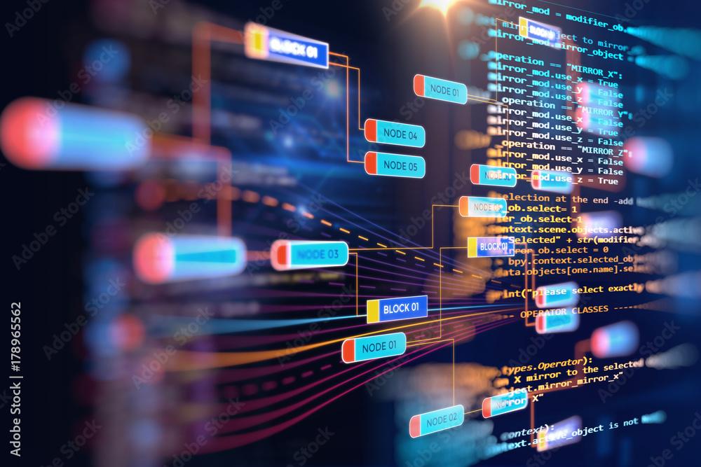 Fototapeta Big data futuristic visualization abstract illustration