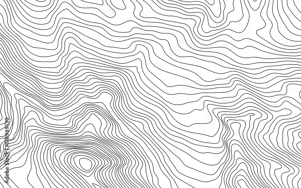 Fototapeta MobileThe stylized height of the topographic contour in lines and contours. The concept of a conditional geography scheme and the terrain path. Vector illustration.