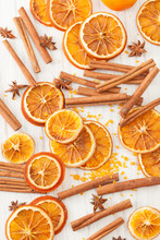 Background From Dried Oranges, Cinnamon Sticks, Star Anise
