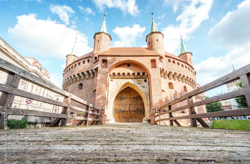 Fototapety, obrazy: Historyczny Barbakan zbudowany w XV wieku, Kraków, Polska