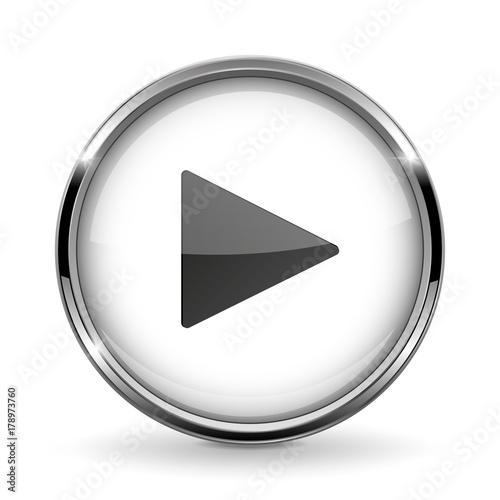 Fotografía  Round 3d button with metal frame. Play icon