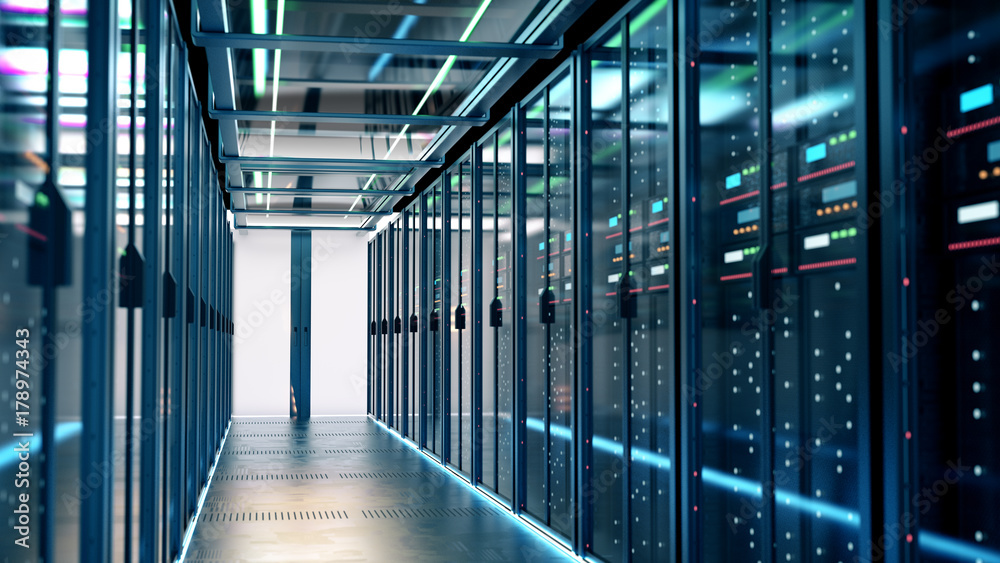 Fototapeta Server room or server computers.3d rendering.