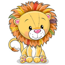 Cute Cartoon Lion Isolated On ...
