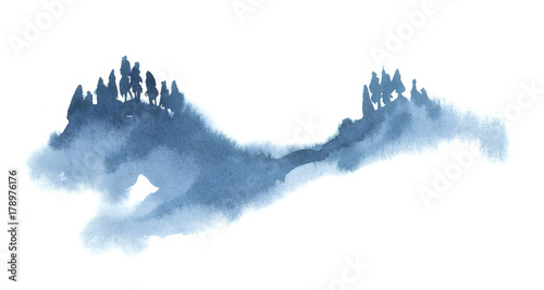 Poster Blanc Watercolor illustration isolated on white background. Painting on wet. Blue forest in fog.