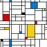 Mondrian style abstract geometric seamless pattern. - 178978158