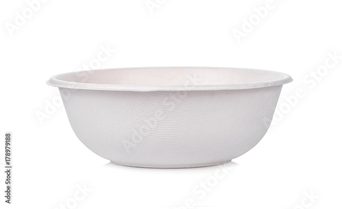 Photo nature bowl from bagasse isolate on white