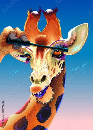 Poster Chambre d enfant Giraffe is applying the mascara on her eyelashes
