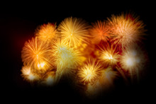 Gold Firework Display Set For Celebration Happy New Year And Merry Christmas And Fireworks On Black Isolated Background