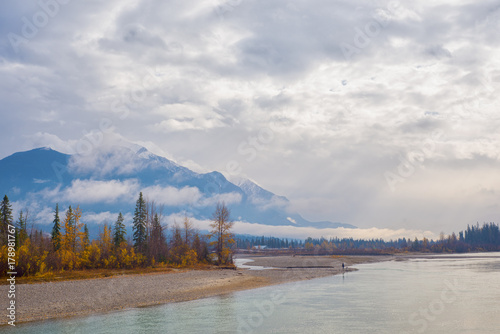 Wall Murals Blue Rocky Moutains and river from the town of Golden in BC, Canada