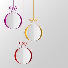 Christmas Balls Cut Out Of Paper. Template For Christmas And New Year Cards. Festive Background. Vector Illustration
