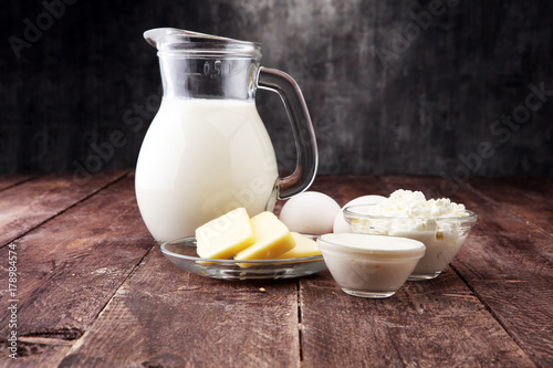 Poster Produit laitier still life with dairy products, milk, eggs, butter with a lot of calcium.