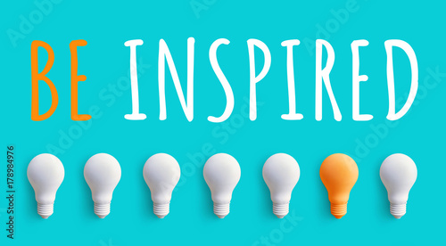 Fotografie, Obraz  BE INSPIRED message with light bulb.business creativity ideas