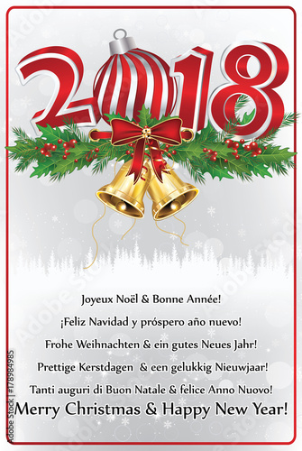 merry christmas and happy new year greeting card with text in many languages - Merry Christmas And Happy New Year In Italian