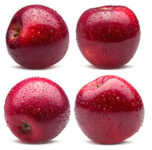 Collection Of Red Apples In Water Drops Isolated On A White Background