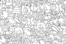 Christmas Background. Black And White Outlined Coloring Page. Hand Drawn Cartoon Style Doodle Vector Illustration.