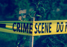 Crime Scene Tape Closeup, Poli...