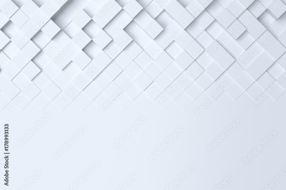 White geometric abstract background. 3d illustration, 3d rendering
