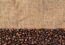 Coffee Beans On Natural Jute B...