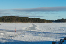 Ice Rink On The Frozen Lake In...