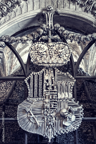 Staande foto Imagination Fragment of an interior of The Sedlec Ossuary, Roman Catholic chapel, located in Sedlec, a suburb of Kutna Hora in the Czech Republic