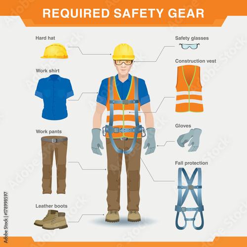 Fototapeta Required safety gear. Overalls. Safety at the construction site. Vector illustration for an information poster obraz