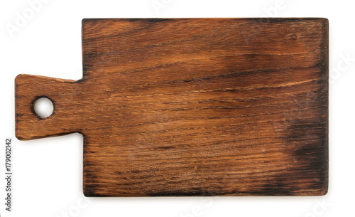 Fotografía Handmade ash-tree wood cutting board, isolated on a white background, top view