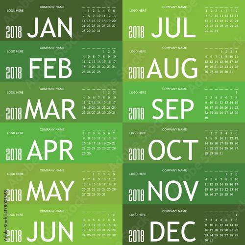 Fényképezés  calendar green for 2018 illustration