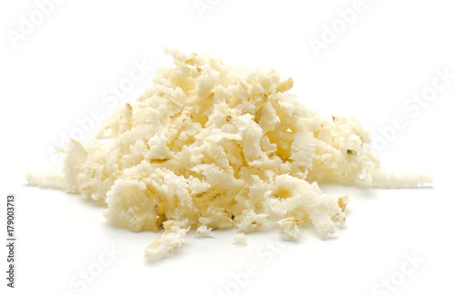 Fotografie, Obraz  Freshly grated mash of horseradish root isolated on white background