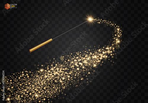 Fototapeta Magic wand with magical sparkle glitter trail
