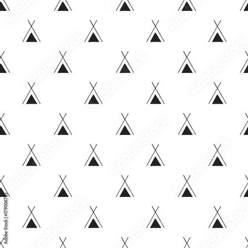 sliczny-reka-rysujacy-pepiniera-bezszwowy-wzor-z-wigwamem-w-skandynawskim-stylu-ilustracji-wektorowych