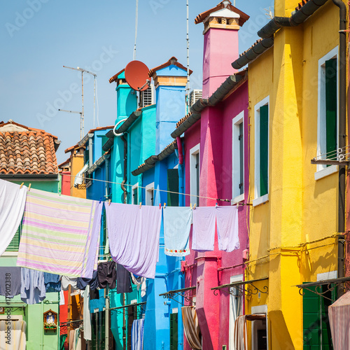 Poster Corail Colored houses in Venice - Italy