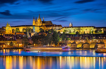 View On The Charles Bridge And Castle In Prague At Night