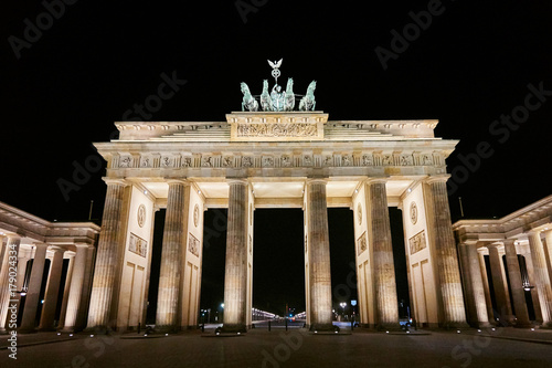 Brandenburger Tor (Brandenburg Gate) panorama, famous landmark in Berlin Germany Poster