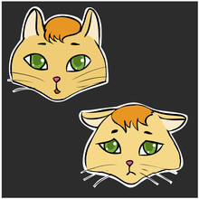 Emotions Normal And Sad Cat's Faces