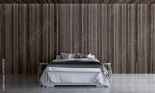 Plakat Loft sypialni wnętrza projektują pojęcie i drewno izolujemy tekstury tło / 3d odpłaca się nową scenę