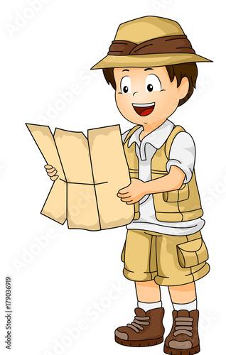 Fotografie, Obraz Illustration of a Little Boy in Full Safari Gear Reading the Con