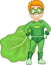 Kid Boy Green Super Hero Veggi...