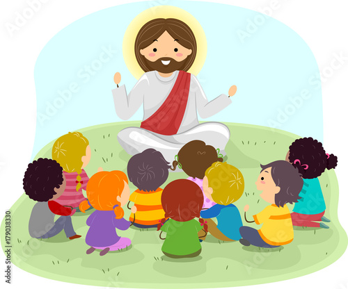 Fotografie, Obraz  Stickman Kids Jesus Preach Illustration