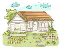 Cottage Flower Garden Illustra...