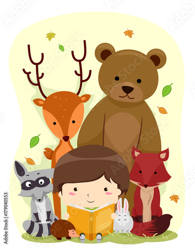 Kid Boy Book Animals Woodland