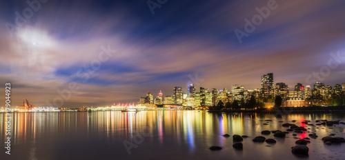 Vancouver skyline panorama at night