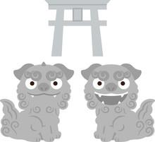対の狛犬と鳥居