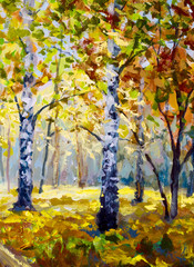 Panel Szklany Brzoza Autumn forest - Original oil painting white birch trees in autumn forest. Beautiful golden autumn landscape. Modern impressionism orange autumn nature painting art.
