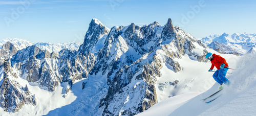 Garden Poster Winter sports Skiing Vallee Blanche Chamonix with amazing panorama of Grandes Jorasses and Dent du Geant from Aiguille du Midi, Mont Blanc mountain, Haute-Savoie, France