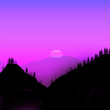 Leinwanddruck Bild - Minimalist design illustration of mountains at twilight