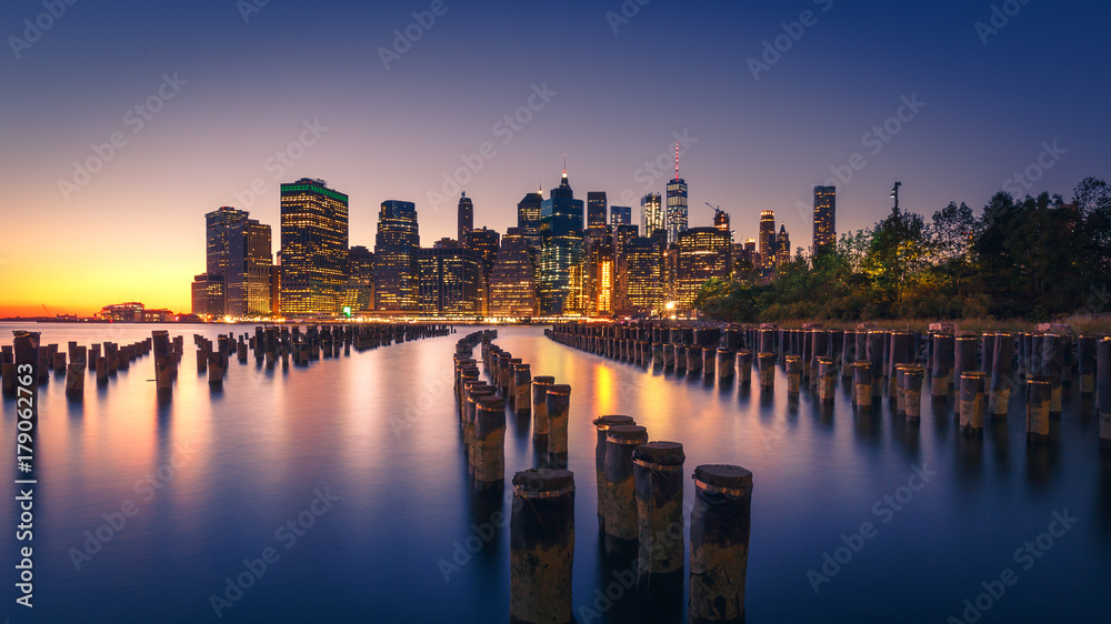 Fototapety, obrazy: New York City Skyline at Night