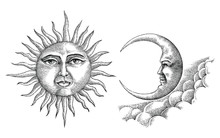 Vintage Moon And Sun Hand Draw...