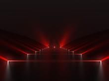 Futuristic Dark Red Podium Wit...