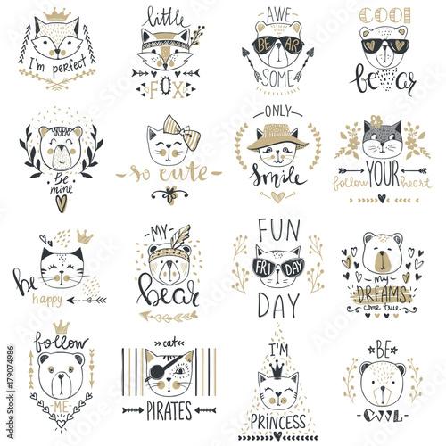 Fotografía  Big Vector collection with  cute animals